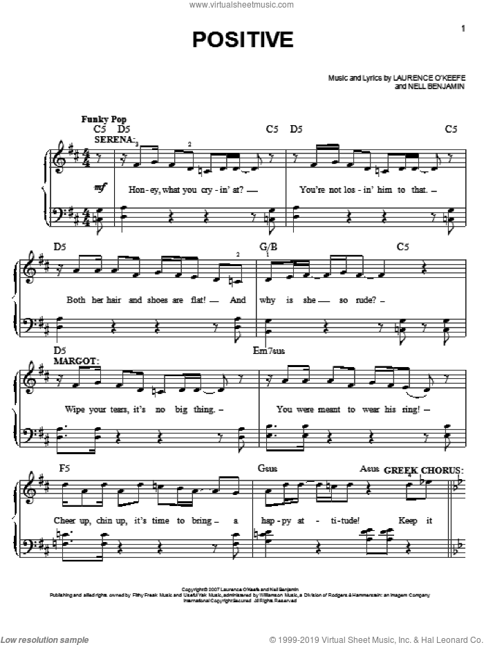 Positive sheet music for piano solo by Nell Benjamin and Legally Blonde (Musical), easy skill level