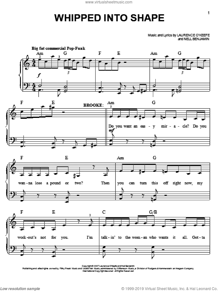 Whipped Into Shape sheet music for piano solo by Nell Benjamin. Score Image Preview.