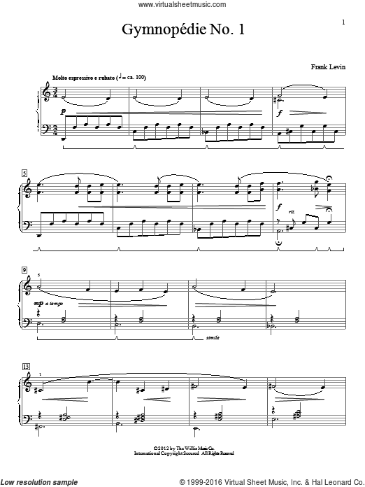 Gymnopedie No. 1 sheet music for piano solo (elementary) by Frank Levin. Score Image Preview.