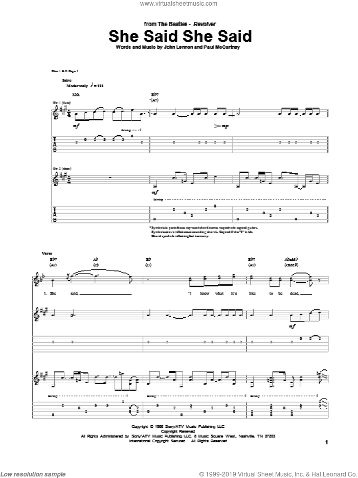 She Said She Said sheet music for guitar (tablature) by Paul McCartney, John Lennon and The Beatles. Score Image Preview.