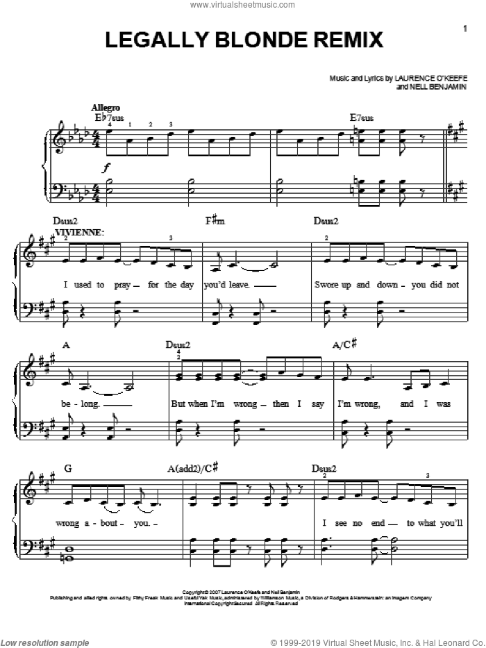 Legally Blonde Remix sheet music for piano solo by Nell Benjamin. Score Image Preview.