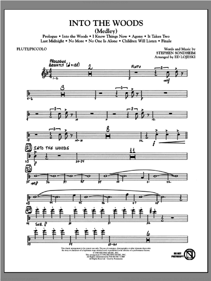 Into The Woods (Medley) sheet music for orchestra/band (flute/piccolo) by Ed Lojeski