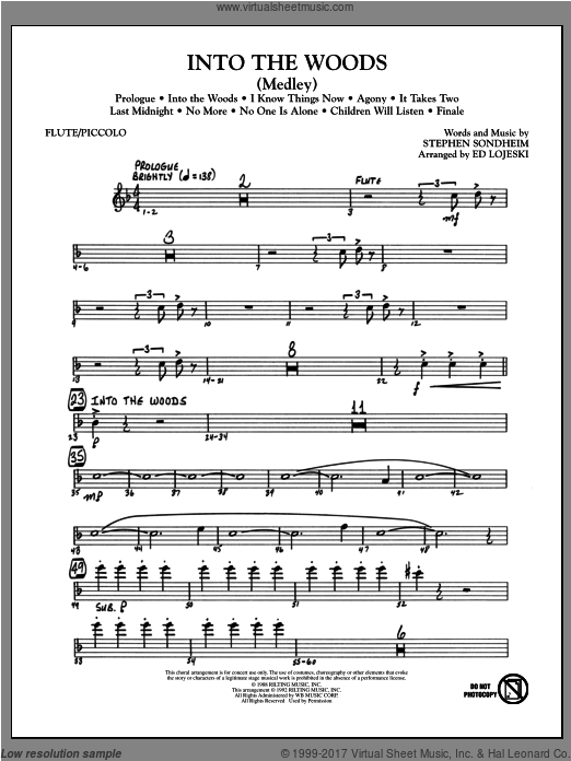 Into The Woods (Medley) (COMPLETE) sheet music for orchestra by Ed Lojeski