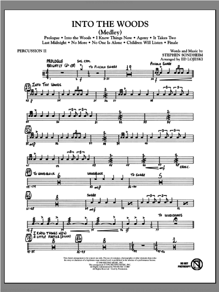 Into The Woods (Medley) sheet music for orchestra/band (percussion 2) by Ed Lojeski