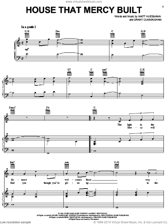 House That Mercy Built sheet music for voice, piano or guitar by Matt Huesmann and Grant Cunningham. Score Image Preview.