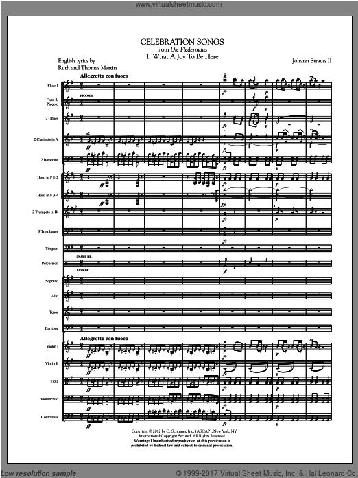 Celebration Songs (from Die Fledermaus) (COMPLETE) sheet music for orchestra by Johann Strauss