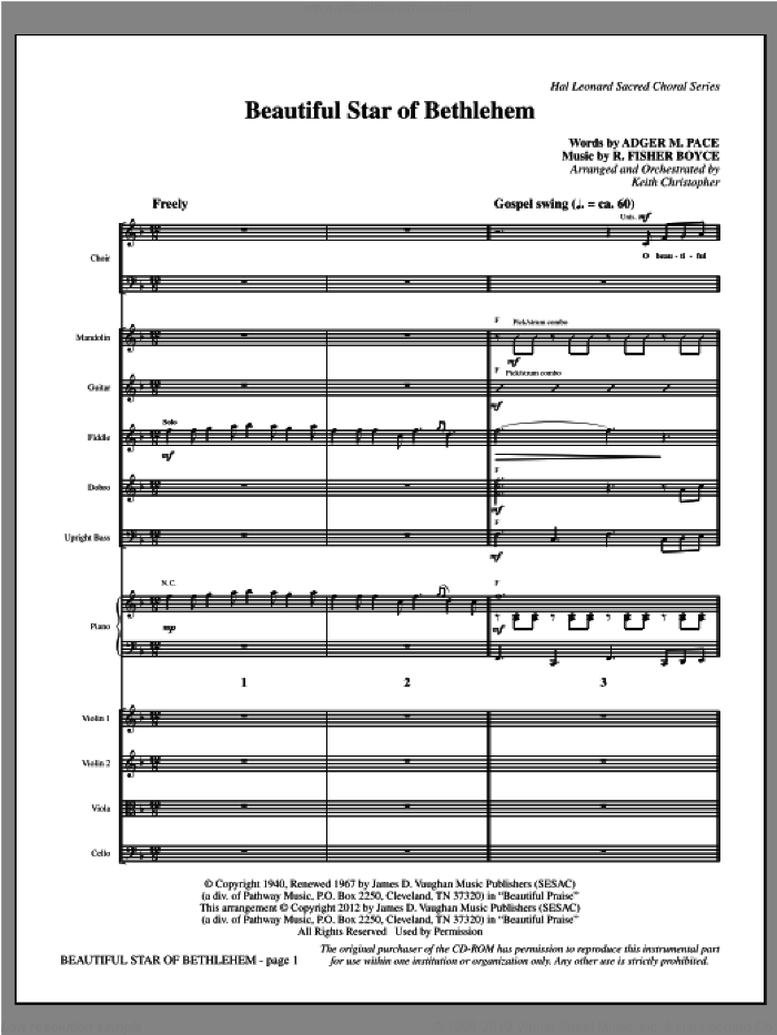 Beautiful Star Of Bethlehem sheet music for orchestra/band (full score) by Keith Christopher