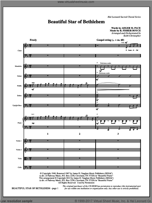 Beautiful Star Of Bethlehem (COMPLETE) sheet music for orchestra by Keith Christopher
