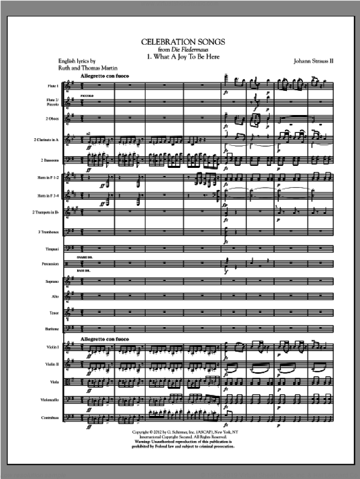 Celebration Songs (from Die Fledermaus) (complete set of parts) sheet music for orchestra/band (Orchestra) by Johann Strauss, classical score, intermediate skill level