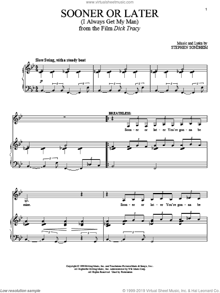 Sooner Or Later (I Always Get My Man) sheet music for voice and piano by Stephen Sondheim, intermediate skill level