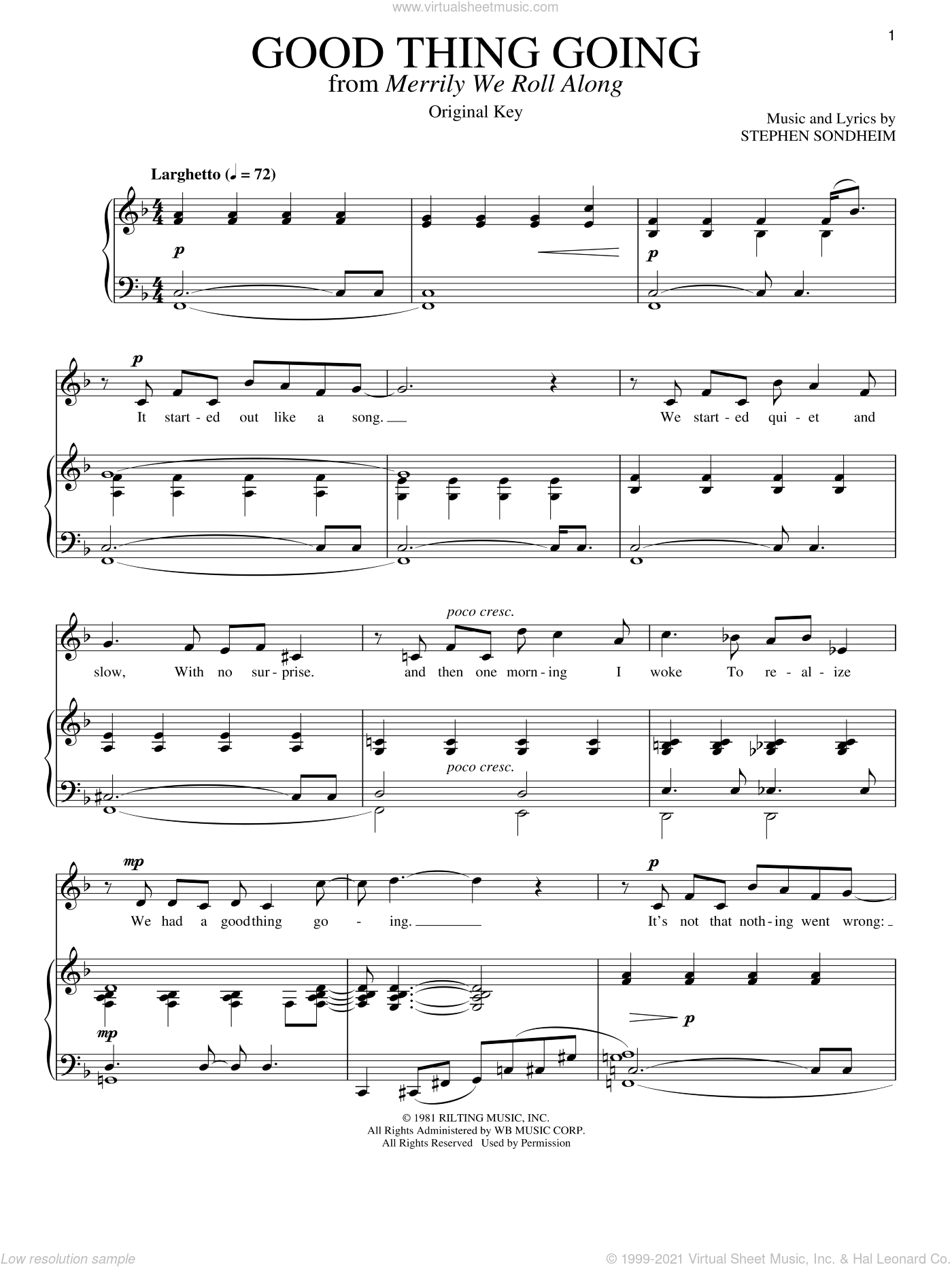 Good Thing Going sheet music for voice and piano by Stephen Sondheim. Score Image Preview.