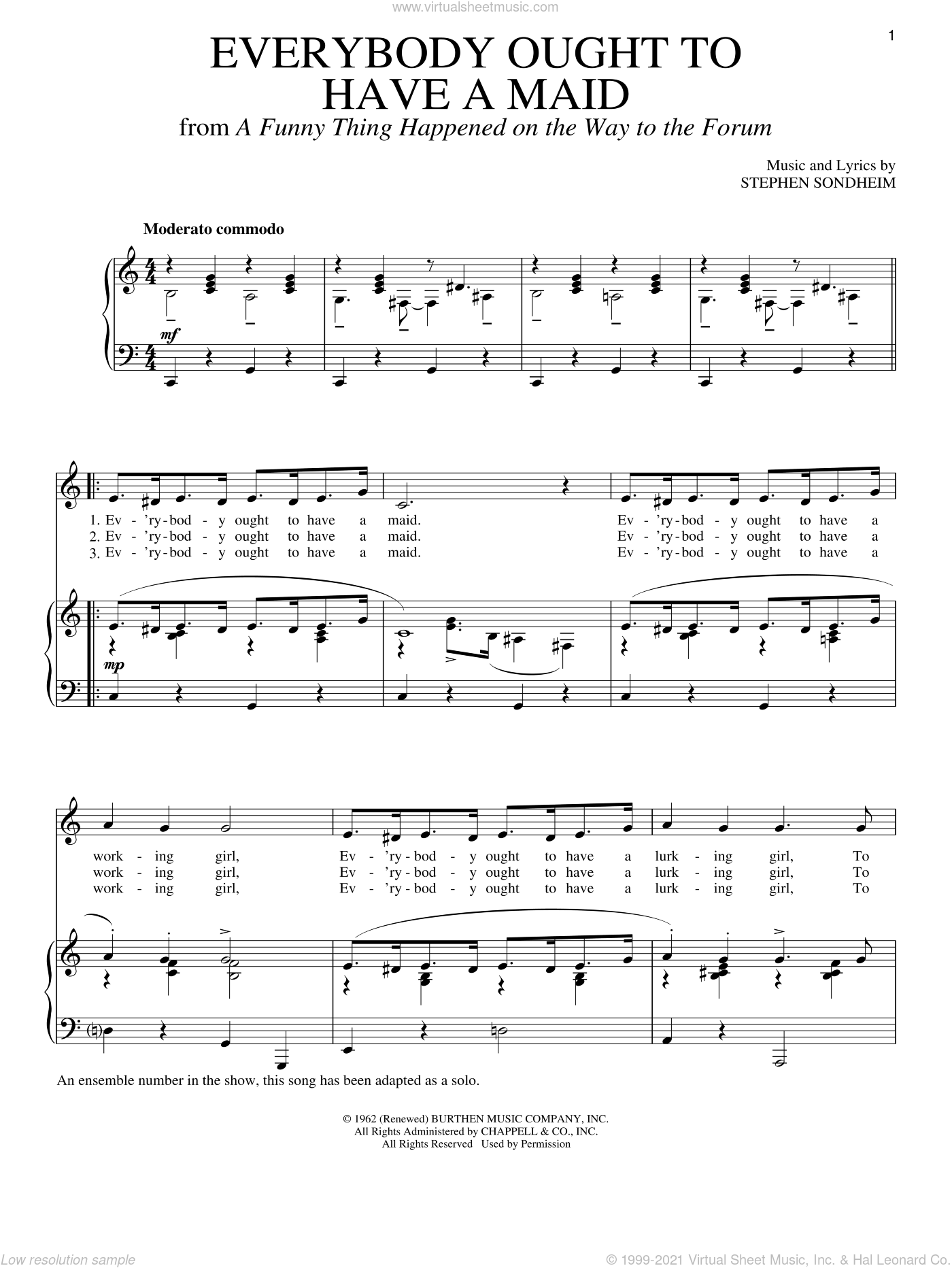 Everybody Ought To Have A Maid sheet music for voice and piano by Stephen Sondheim, intermediate skill level