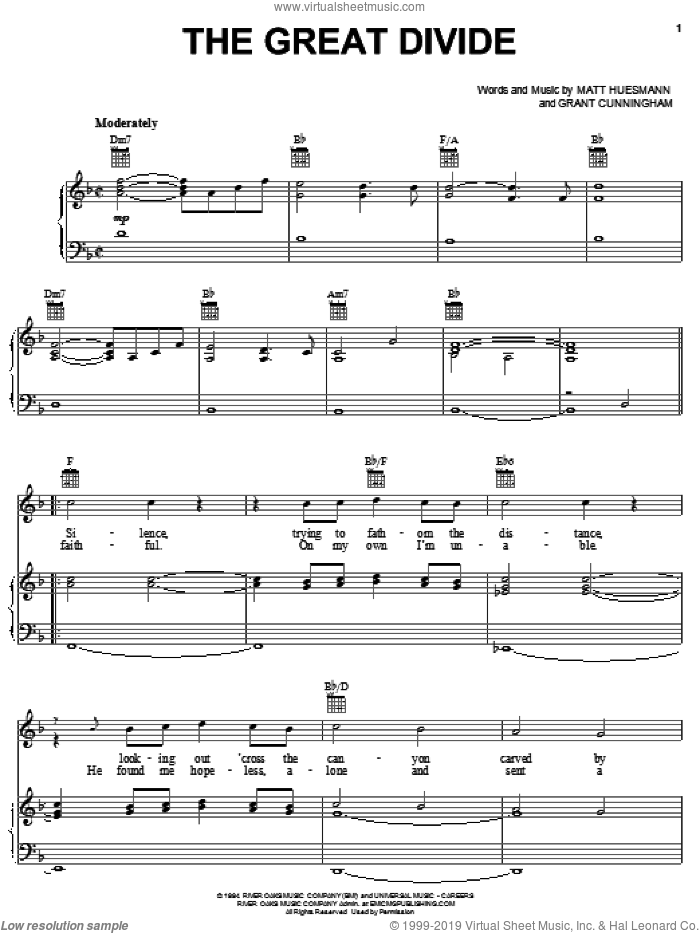 The Great Divide sheet music for voice, piano or guitar by Point Of Grace, Grant Cunningham and Matt Huesmann, intermediate skill level