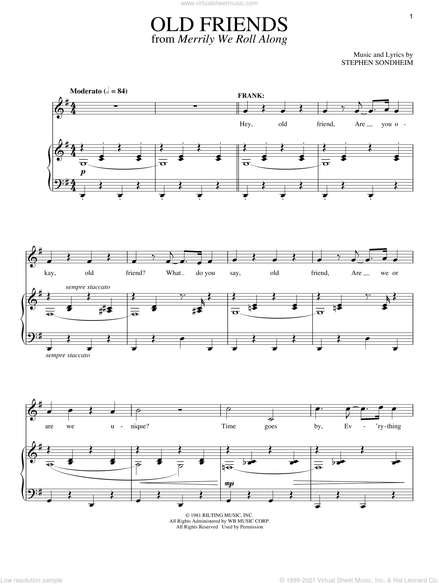 Old Friends sheet music for voice and piano by Stephen Sondheim, intermediate skill level