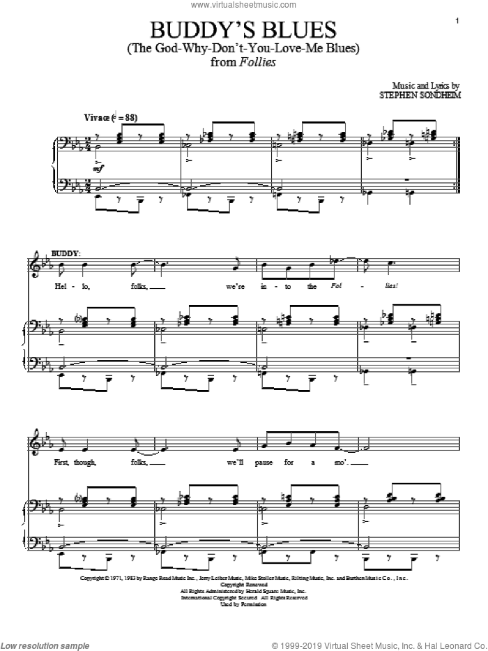 Buddy's Blues (The God-Why-Don't-You-Love-Me Blues) sheet music for voice and piano by Stephen Sondheim, intermediate skill level