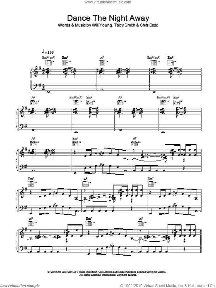Dance The Night Away sheet music for voice, piano or guitar by Will Young, Chris Dodd and Toby Smith, intermediate. Score Image Preview.
