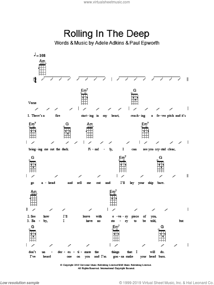 Rolling In The Deep sheet music for ukulele (chords) by Paul Epworth, Adele, The Ukuleles and Adele Adkins. Score Image Preview.