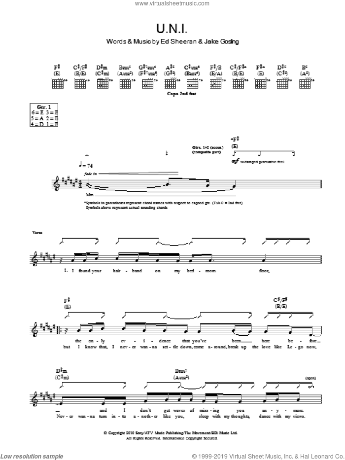 U.N.I sheet music for guitar (tablature) by Jake Gosling and Ed Sheeran. Score Image Preview.