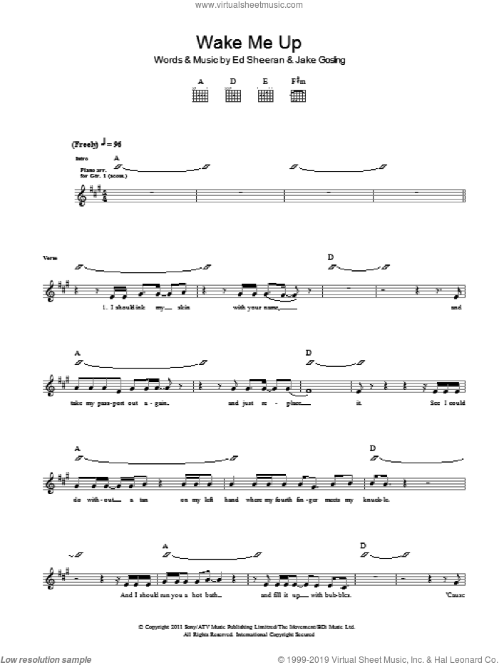 Wake Me Up sheet music for guitar (tablature) by Ed Sheeran and Jake Gosling, intermediate skill level