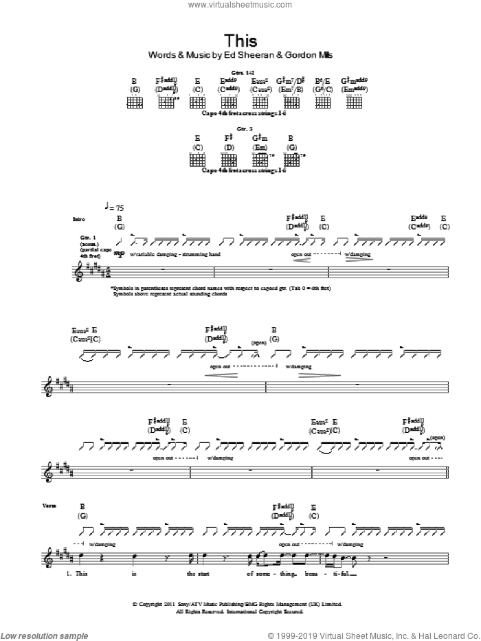 This sheet music for guitar (tablature) by Ed Sheeran and Gordon Mills, intermediate
