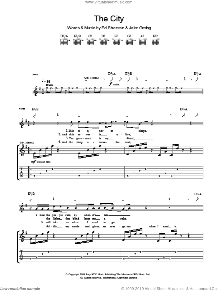 The City sheet music for guitar (tablature) by Ed Sheeran and Jake Gosling, intermediate