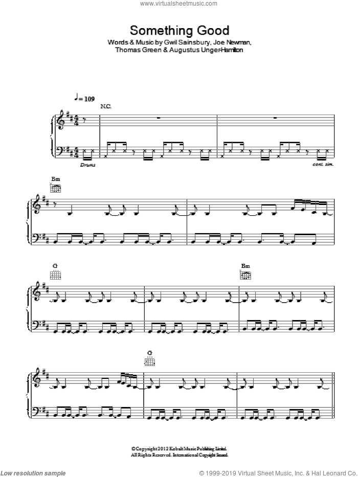 Something Good sheet music for voice, piano or guitar by Alt-J, Augustus Unger-Hamilton, Gwil Sainsbury, Joe Newman and Thomas Green, intermediate skill level