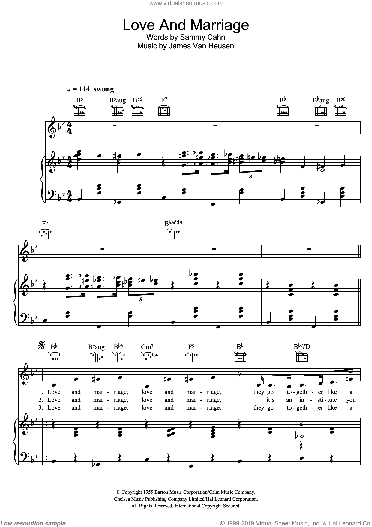 Love And Marriage sheet music for voice, piano or guitar by Sammy Cahn