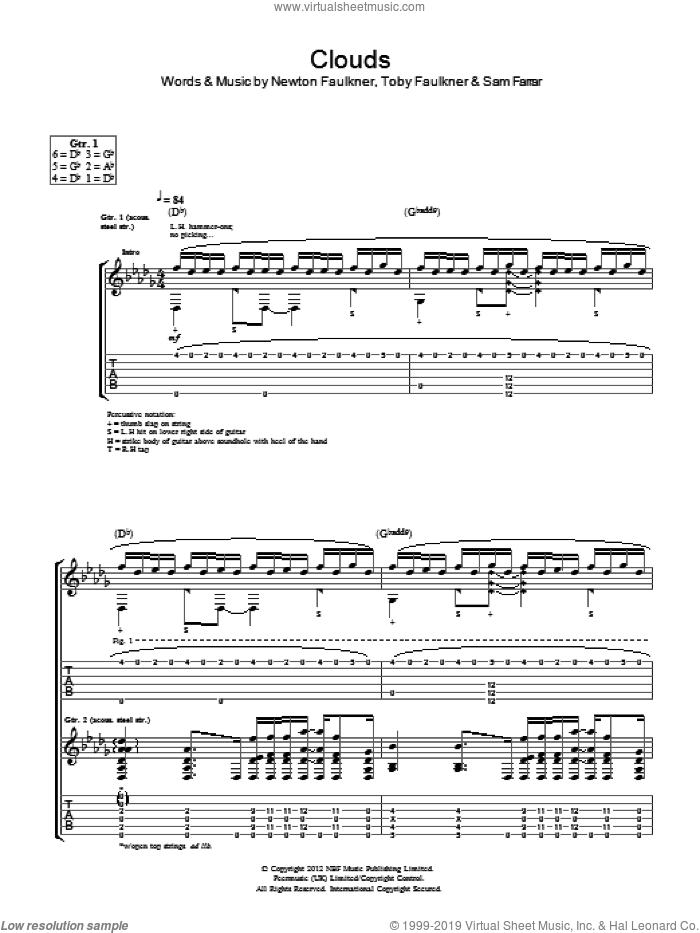 Clouds sheet music for guitar (tablature) by Toby Faulkner, Newton Faulkner and Sam Farrar. Score Image Preview.