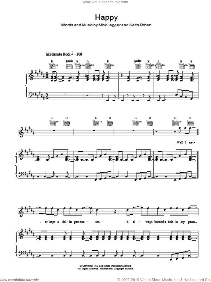 Happy sheet music for voice, piano or guitar by The Rolling Stones, Keith Richards and Mick Jagger, intermediate skill level