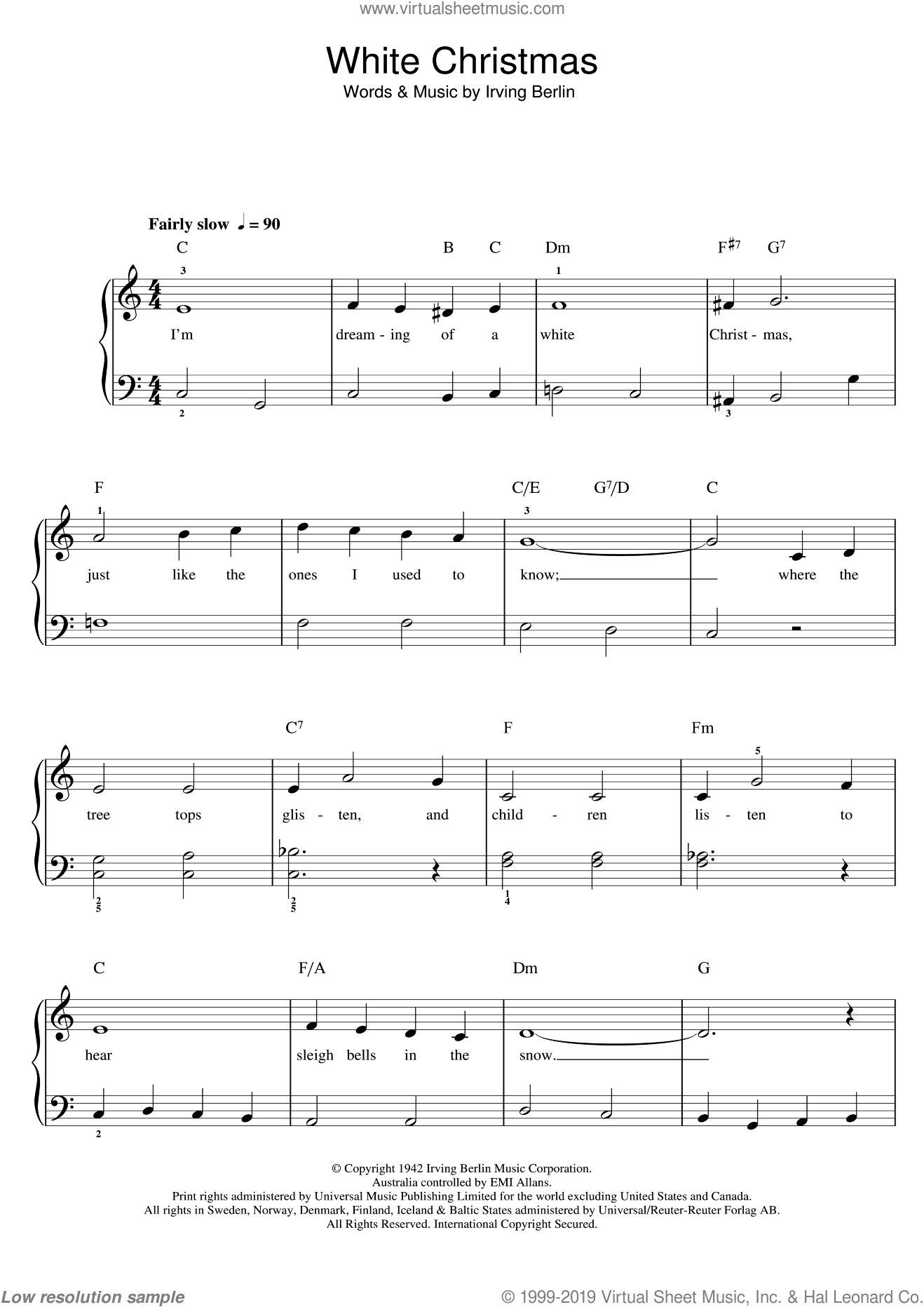 White Christmas sheet music for piano solo (chords) by Irving Berlin