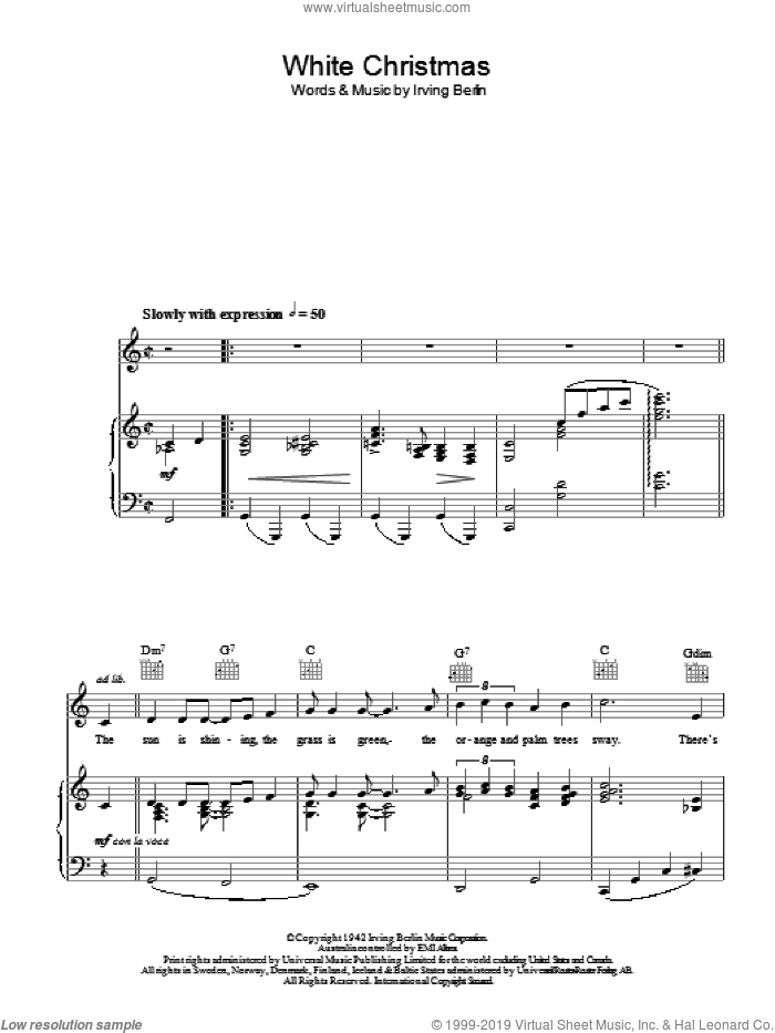 White Christmas sheet music for voice, piano or guitar by Irving Berlin and Otis Redding, intermediate skill level