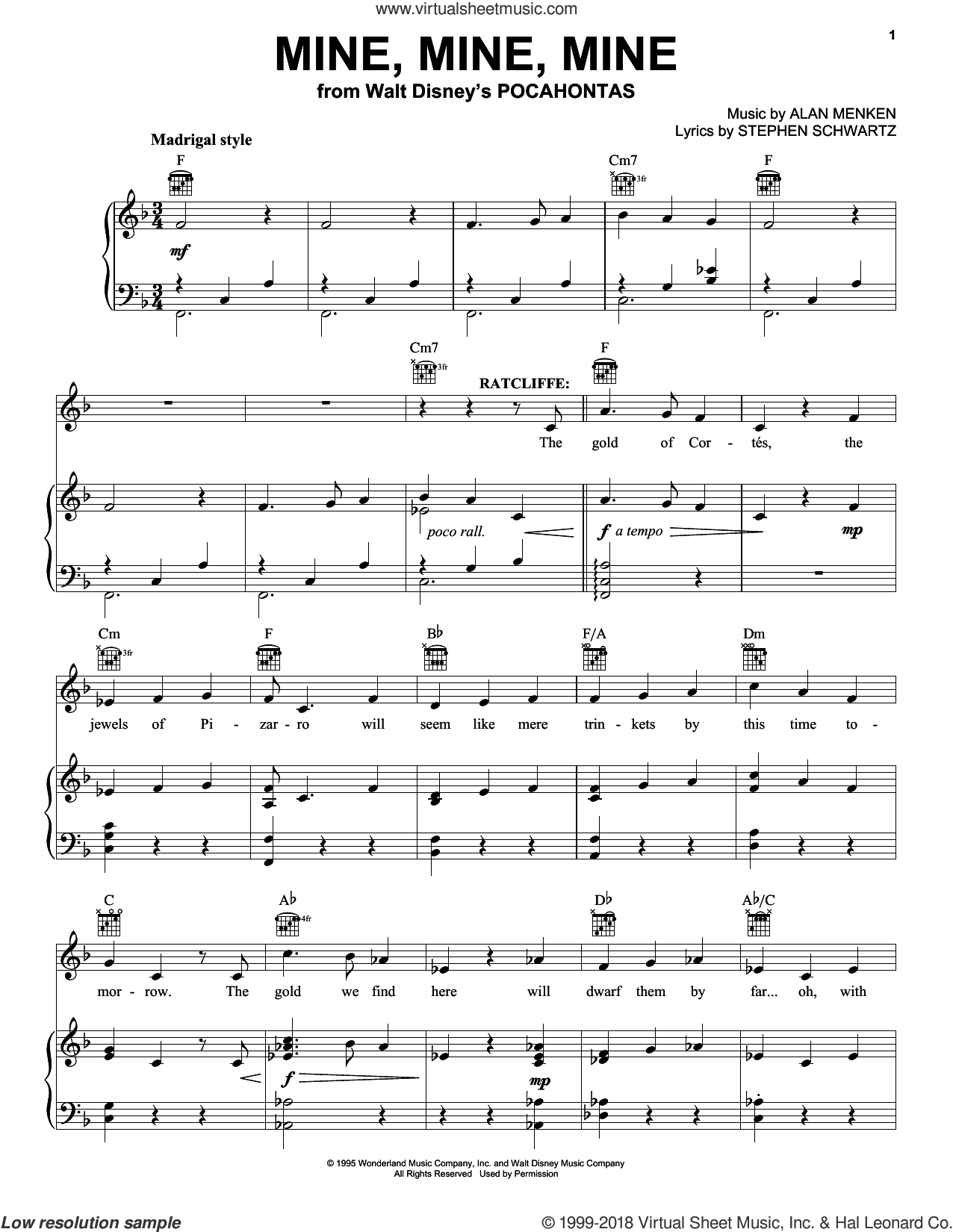 Mine, Mine, Mine sheet music for voice, piano or guitar by Alan Menken and Stephen Schwartz, intermediate skill level