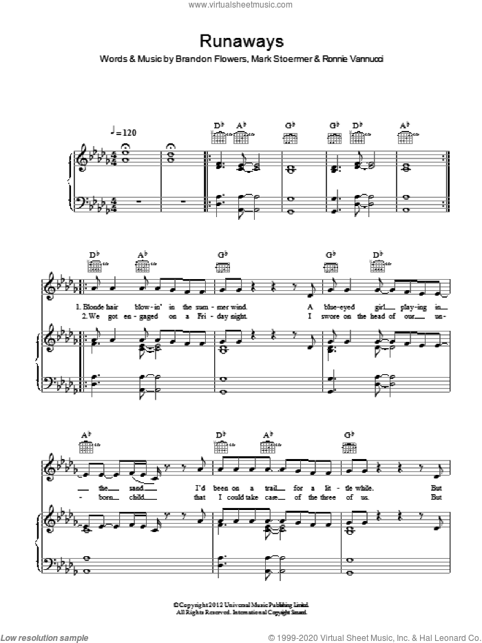 Runaways sheet music for voice, piano or guitar by The Killers, Brandon Flowers, Mark Stoermer and Ronnie Vannucci, intermediate skill level