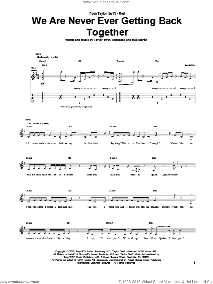 We Are Never Ever Getting Back Together sheet music for guitar (tablature) by Taylor Swift, Max Martin and Shellback, intermediate. Score Image Preview.