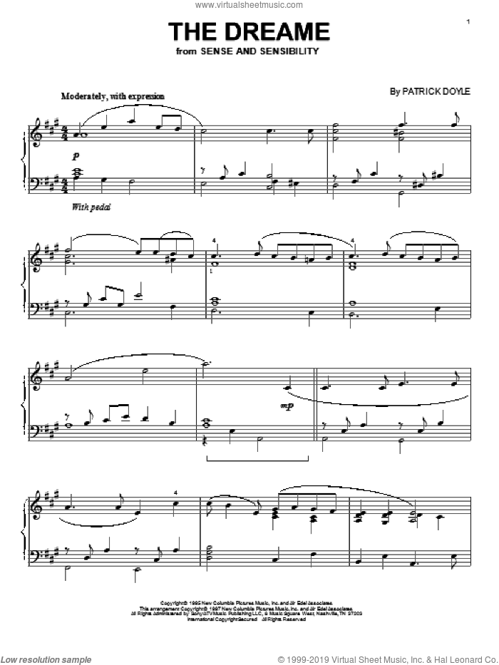 The Dreame sheet music for piano solo by Patrick Doyle, intermediate piano. Score Image Preview.
