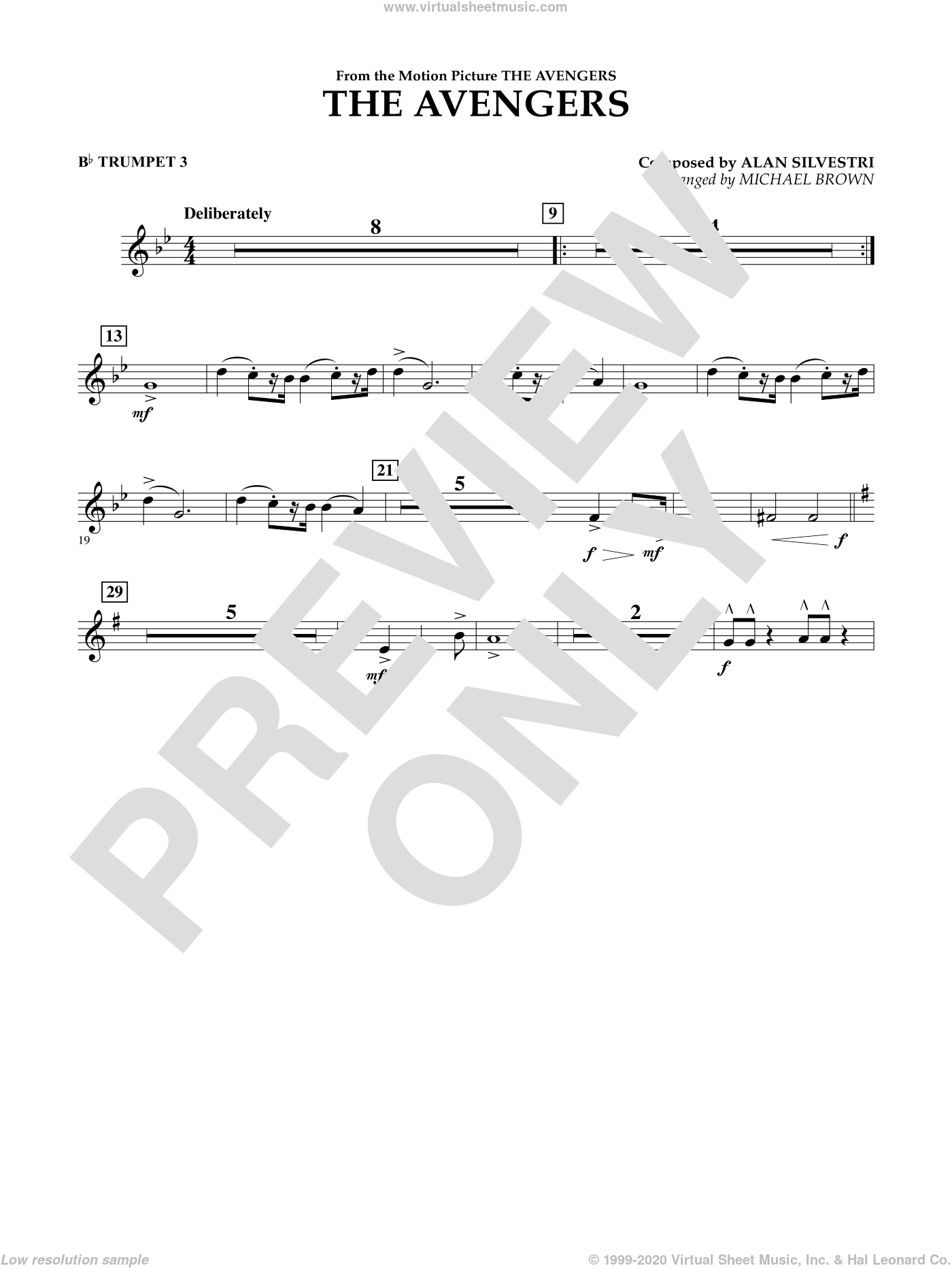 The Avengers sheet music for concert band (Bb trumpet 3) by Michael Brown