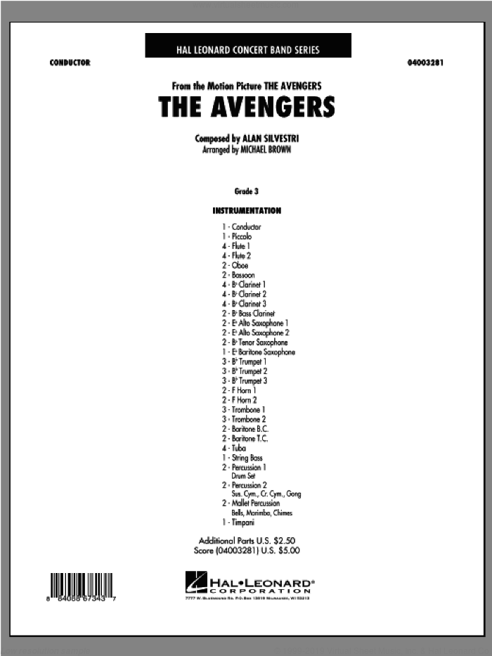 The Avengers (COMPLETE) sheet music for concert band by Michael Brown, Alan Silvestri and The Avengers (Movie), intermediate skill level