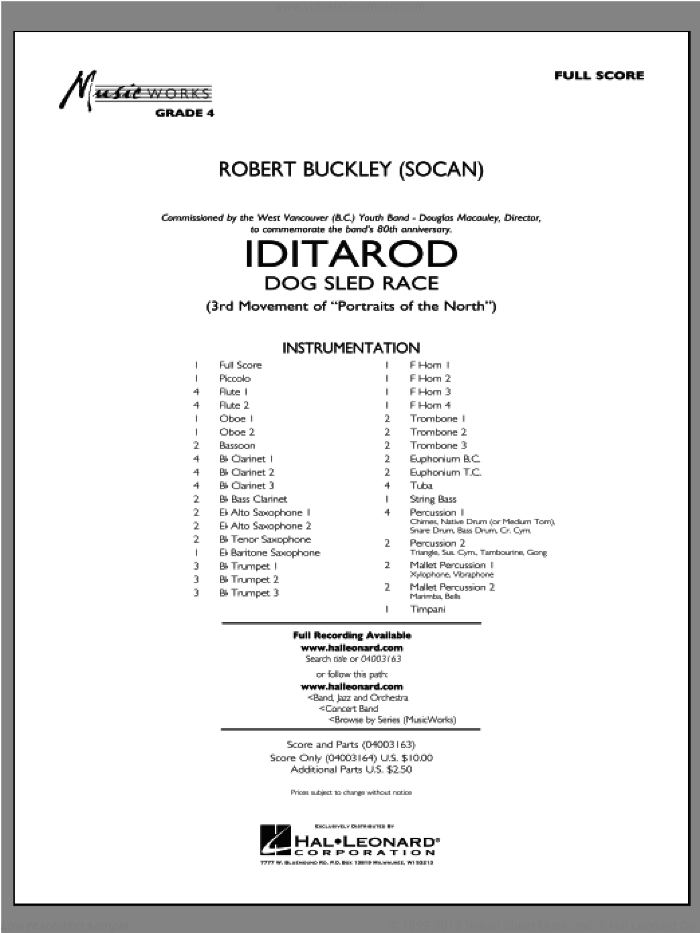 Iditarod (COMPLETE) sheet music for concert band by Robert Buckley, intermediate