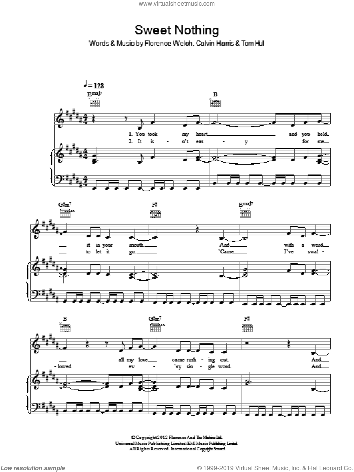 Sweet Nothing sheet music for voice, piano or guitar by Tom Hull, Calvin Harris and Florence Welch. Score Image Preview.