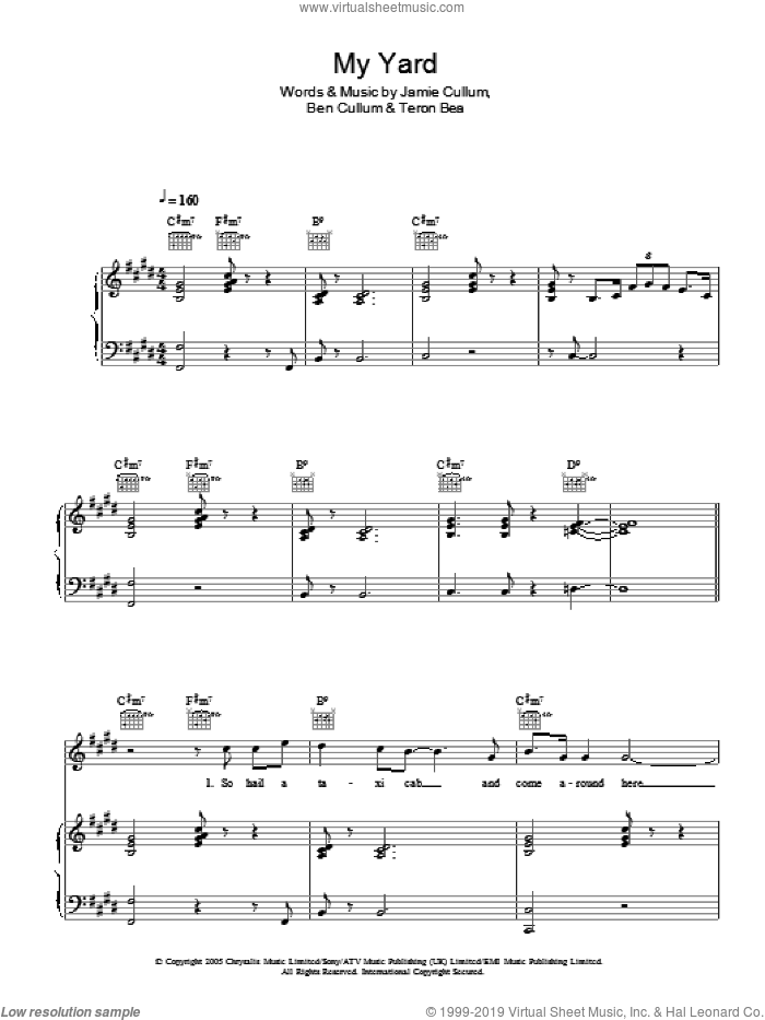 My Yard sheet music for voice, piano or guitar by Teron Beal, Ben Cullum and Jamie Cullum. Score Image Preview.
