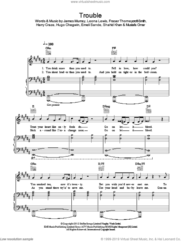 Trouble (piano acoustic version) sheet music for voice, piano or guitar by Leona Lewis, Emeli Sande, Fraser Thorneycroft-Smith, Harry Craze, Hugo Chegwin, James Murray, Mustafa Omar and Shahid Khan, intermediate skill level