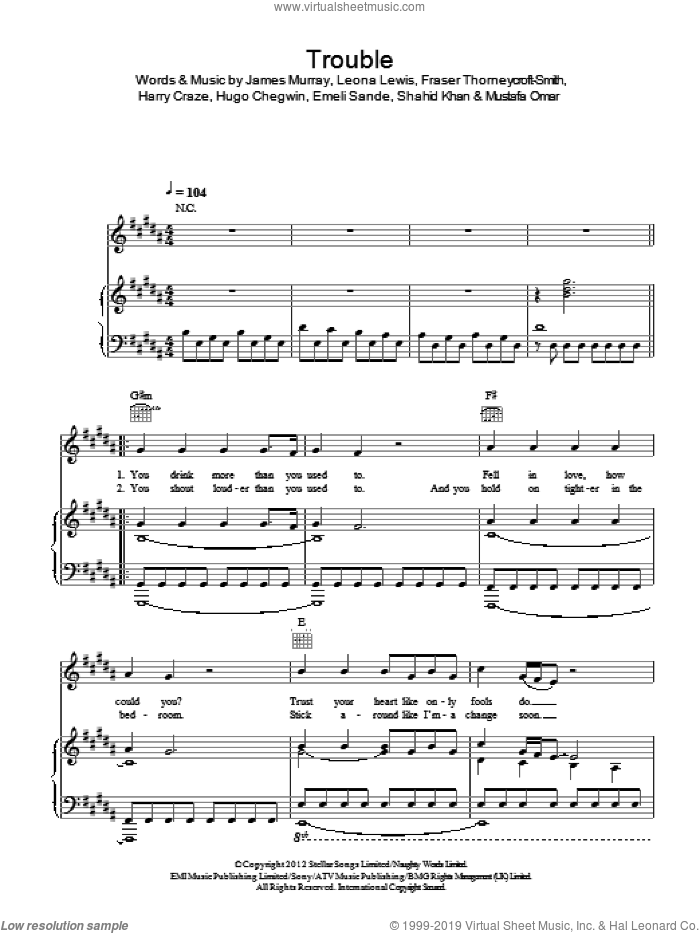 Trouble sheet music for voice, piano or guitar by Leona Lewis, Emeli Sande, Fraser Thorneycroft-Smith, Harry Craze, Hugo Chegwin, James Murray, Mustafa Omar and Shahid Khan, intermediate skill level