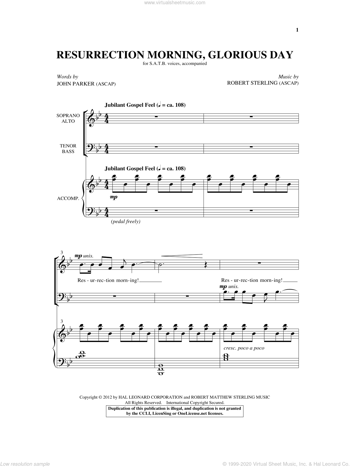 Resurrection Morning, Glorious Day sheet music for choir (SATB) by Robert Sterling and John Parker, intermediate choir (SATB). Score Image Preview.
