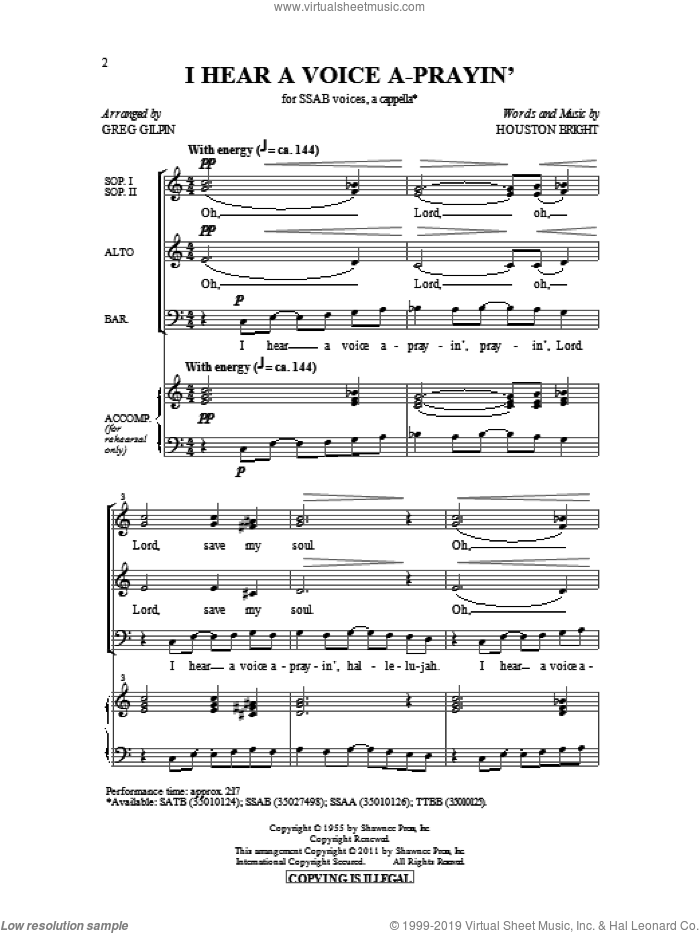 I Hear A Voice A-Prayin' sheet music for choir (SATB: soprano, alto, tenor, bass) by Houston Bright and Greg Gilpin, intermediate. Score Image Preview.