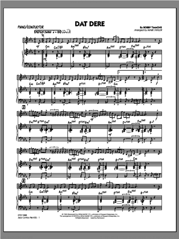 Jazz Combo Pak #35 (Cannonball Adderley) (COMPLETE) sheet music for jazz band by Mark Taylor and Cannonball Adderley, intermediate. Score Image Preview.