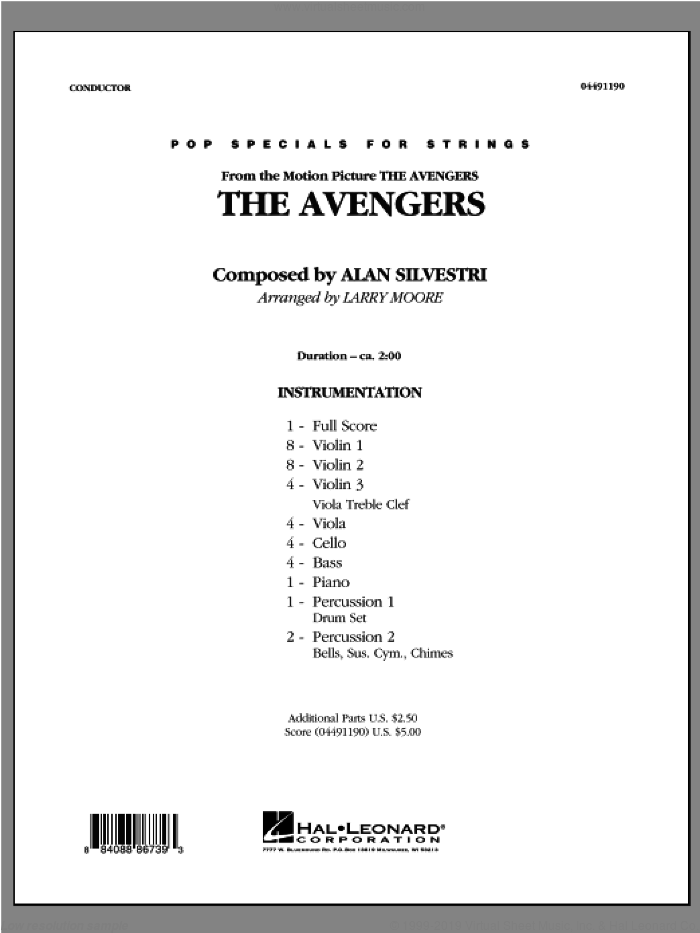The Avengers (Main Theme) (COMPLETE) sheet music for orchestra by Alan Silvestri, Larry Moore and The Avengers (Movie), intermediate skill level