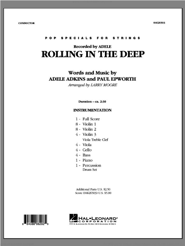 Rolling in the Deep (COMPLETE) sheet music for orchestra by Paul Epworth, Adele and Larry Moore, intermediate. Score Image Preview.