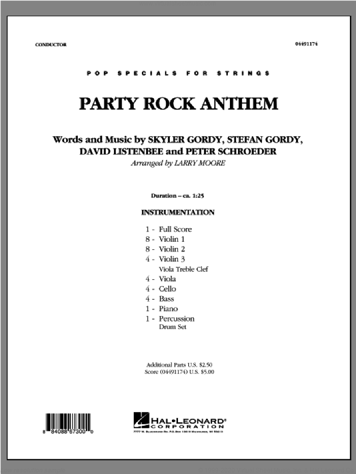 Party Rock Anthem (COMPLETE) sheet music for orchestra by Larry Moore and LMFAO, intermediate skill level