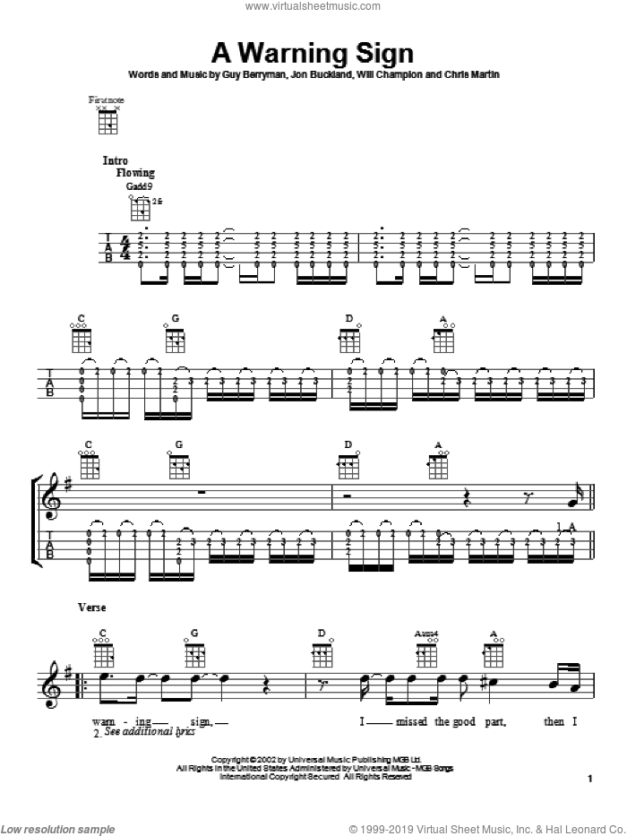 A Warning Sign sheet music for ukulele by Coldplay, Chris Martin, Guy Berryman, Jon Buckland and Will Champion, intermediate. Score Image Preview.