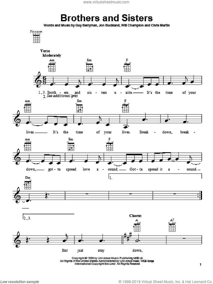 Brothers And Sisters sheet music for ukulele by Coldplay, Chris Martin, Guy Berryman, Jon Buckland and Will Champion, intermediate skill level